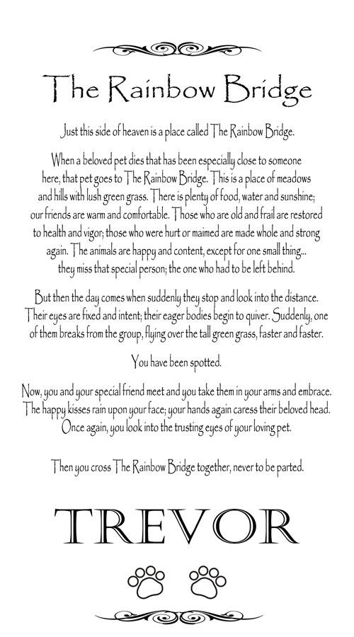 Rainbow Bridge Poem Dog Loss Frame